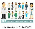 medicine set with doctor and... | Shutterstock .eps vector #519490855