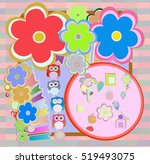 birthday party elements with... | Shutterstock . vector #519493075