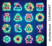 set of christmas neon icons... | Shutterstock .eps vector #519494497
