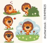 Vector Set Funny Lion In...