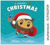vintage christmas poster design ... | Shutterstock .eps vector #519502939