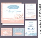 Set Of Wedding Cards With Red...