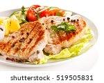 grilled steaks and vegetables  | Shutterstock . vector #519505831