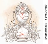 decorative antique hourglass... | Shutterstock .eps vector #519509989