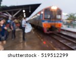 people waiting at train station ... | Shutterstock . vector #519512299