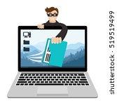 hacker breaks into computer and ...   Shutterstock .eps vector #519519499