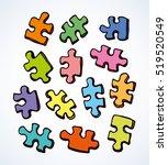 scattered vibrant cut kid... | Shutterstock .eps vector #519520549