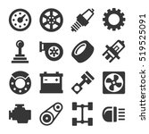 car parts icons set on white... | Shutterstock .eps vector #519525091