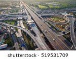 busy highway from aerial view.