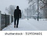 Man Walking Winter. Snow...