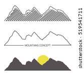 set of mountain ridges on white ... | Shutterstock .eps vector #519541711