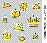 patch badges with crowns.... | Shutterstock .eps vector #519544501