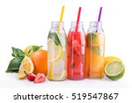 summer lemonade bottles with... | Shutterstock . vector #519547867