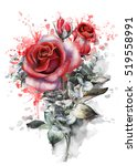 Stock photo watercolor flowers romantic floral illustration red rose splash paint branch of flowers 519558991