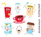 set of funny milk  coffee  tea... | Shutterstock .eps vector #519561469