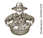 vegetables. farmer with basket... | Shutterstock .eps vector #519561529