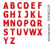Red Alphabet Set Isolated On...