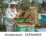 Beekeeper Is Working With Bees...