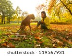 beautiful young woman playing... | Shutterstock . vector #519567931
