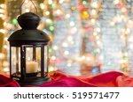 christmas card. holiday lantern ... | Shutterstock . vector #519571477