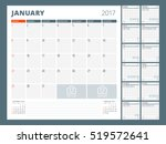 calendar template for 2017 year.... | Shutterstock .eps vector #519572641
