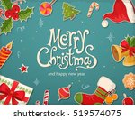 christmas card with objects and ... | Shutterstock .eps vector #519574075