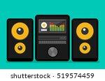 home stereo flat vector music... | Shutterstock .eps vector #519574459