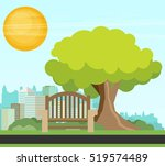 public park in the city. vector ... | Shutterstock .eps vector #519574489