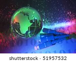 world map technology style against fiber optic background - stock photo