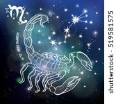 scorpio  zodiac sign. horoscope ... | Shutterstock .eps vector #519581575