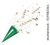 exploding party popper with... | Shutterstock .eps vector #519582361