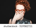 woman covered her mouth with... | Shutterstock . vector #519582721