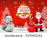 smiling snowman and santa... | Shutterstock .eps vector #519592141