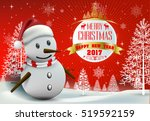 smiling snowman and santa... | Shutterstock .eps vector #519592159