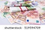 cash money. euro bills. euro... | Shutterstock . vector #519594709