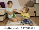 the conflict between a boy and... | Shutterstock . vector #519604525