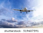 Small photo of Passenger plane take off from runways against beautiful cloudy sky.