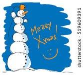 hilarious tall snowman   vector ... | Shutterstock .eps vector #519609391