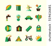 ecology icons set with... | Shutterstock . vector #519616681