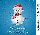 merry christmas snowman... | Shutterstock .eps vector #519620335