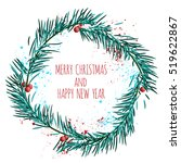 white card with blue christmas... | Shutterstock .eps vector #519622867