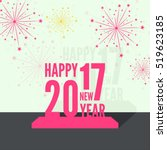 creative happy new year 2017... | Shutterstock .eps vector #519623185