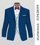 formal suit or tuxedo with bow... | Shutterstock .eps vector #519638599