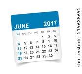 june 2017. calendar vector... | Shutterstock .eps vector #519638695