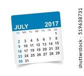 july 2017. calendar vector... | Shutterstock .eps vector #519638731