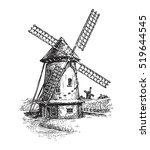 windmill. hand drawn vintage... | Shutterstock .eps vector #519644545
