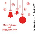 red christmas ornaments card.... | Shutterstock .eps vector #519646087