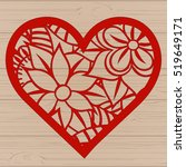 stencil lacy hearts with carved ... | Shutterstock .eps vector #519649171