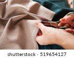 tailor. woman hands notch...   Shutterstock . vector #519654127