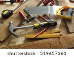 carpenter's tools close up ... | Shutterstock . vector #519657361